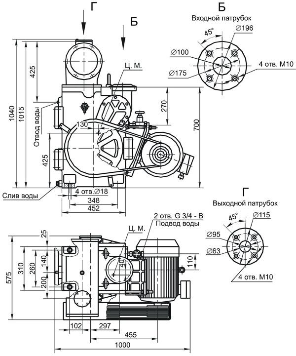 Вакуумный золотниковый насос АВЗ-20д.  Схема насоса, чертеж насоса, размеры насоса.